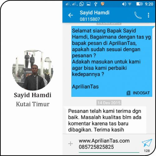 Tas Seminar Sayid Hamdi Kutai Timur testimoni kustomer tas seminar kit murah konveksi produsen aprilian tas 7